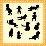 Baby silhouette movements  collection. Illustration symbol Royalty Free Stock Images