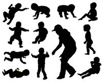 Baby Silhouettes Royalty Free Stock Images