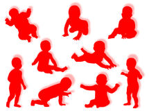 Baby silhouettes Royalty Free Stock Image