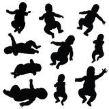 Baby silhouettes Stock Images