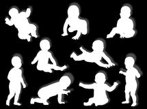 Baby silhouettes Stock Photography