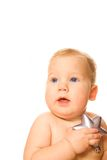 Baby with a silver star Royalty Free Stock Photos