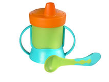 Baby sippy and spoon Stock Image