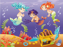 Baby Sirens and Baby Triton with background. vector illustration
