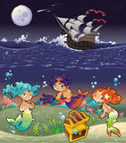 Baby Sirens and Baby Triton under the sea. Royalty Free Stock Photos