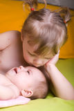 baby and sister Royalty Free Stock Photos
