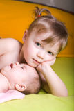 Baby and sister Royalty Free Stock Photography
