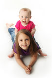 Baby sister and big sister Royalty Free Stock Images