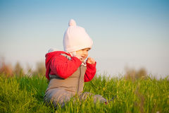 Baby sit on top of hill and taste grass Royalty Free Stock Photo