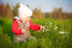 Baby sit on top of hill and touch with flowers Stock Image