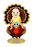 Baby sit on turkey. A cute baby sit on turkey to celebrate thanksgiving Stock Photo