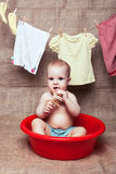 Baby sits in a basin Royalty Free Stock Image