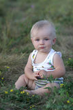 Baby sits on grass Royalty Free Stock Photo