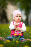 Baby sits on a green grass in dandelions Stock Photos