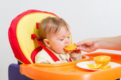 Baby sits in  highchair with orange. Baby sitting in highchair and eats an orange Royalty Free Stock Photos