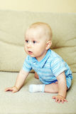 Baby sits on sofa Royalty Free Stock Image