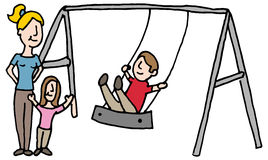 Baby sitter with kids on swing set Stock Photography