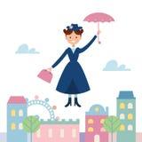 Baby sitter Mary Poppins Flying Over la città Illustrazione di vettore royalty illustrazione gratis