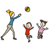 Baby sitter playing ball with children vector illustration