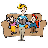 Baby sitter reading to children Stock Photography