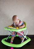 Baby sitting in baby walkers. The child learns to walk Stock Photography