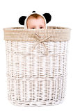 Baby sitting in basket royalty free stock photography
