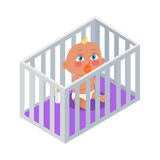 Baby Sitting in the Bassinet with Dummy. Royalty Free Stock Photo