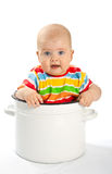 Baby sitting in the big saucepan. Royalty Free Stock Photos