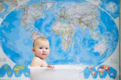 Baby sitting in a box Royalty Free Stock Photo