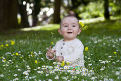 Baby sitting in grass Royalty Free Stock Images