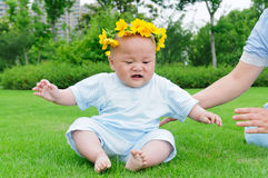Baby sitting on the grass Stock Images