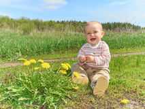 Baby sitting on a green meadow with yellow flowers dandelions Royalty Free Stock Photos