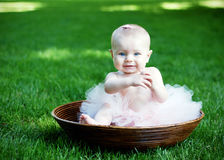 Baby Sitting In Bowl Smiling - Horizontal Stock Photography