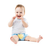 Baby sitting and laughing Stock Image