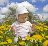Baby sitting in meadow with dandelions Royalty Free Stock Photography