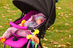 Baby in sitting stroller Royalty Free Stock Image