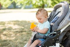 Baby sitting in stroller , nature background with copy space. childhood.  stock photos