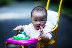 Baby in sitting stroller Royalty Free Stock Photos