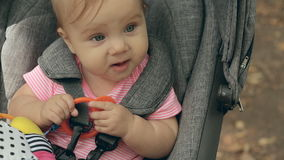 Baby sitting in a wheelchair on the nature and stock video footage