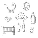 Baby sketch design with toys and objects Stock Photo