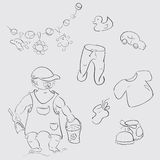Baby sketches. Baby boy, childrens toys and clothes sketches Royalty Free Illustration