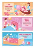 Baby Sleep Banners. Mother putting baby to sleep in bed cradle swing 3 bedtime horizontal banners isolated vector illustration Royalty Free Stock Images