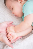 Baby sleep on the bed Royalty Free Stock Photo
