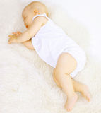 Baby sleep in bed. Baby sweet sleep in the bed Stock Image