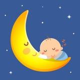 Baby sleep on the moon. Sleeping Stock Photos