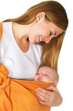 Baby sleep in mother arms