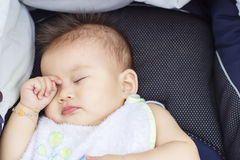 Baby sleep outdoor in a baby car Royalty Free Stock Photography