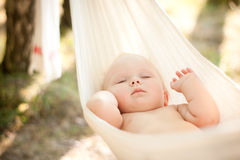 Baby sleep quiet into hammock Royalty Free Stock Photos