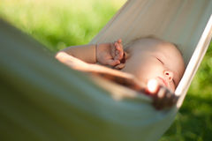 Baby sleep quiet into hammock Royalty Free Stock Image