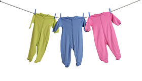 Baby sleepers on the clothesline. Royalty Free Stock Images